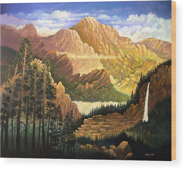 Mountains Colorado New Mexico Arizona Waterfall Sunrise Southwest Landscape Giclee Prints Wood Print featuring the painting Rocky Mountain Sunrise by Donn Kay