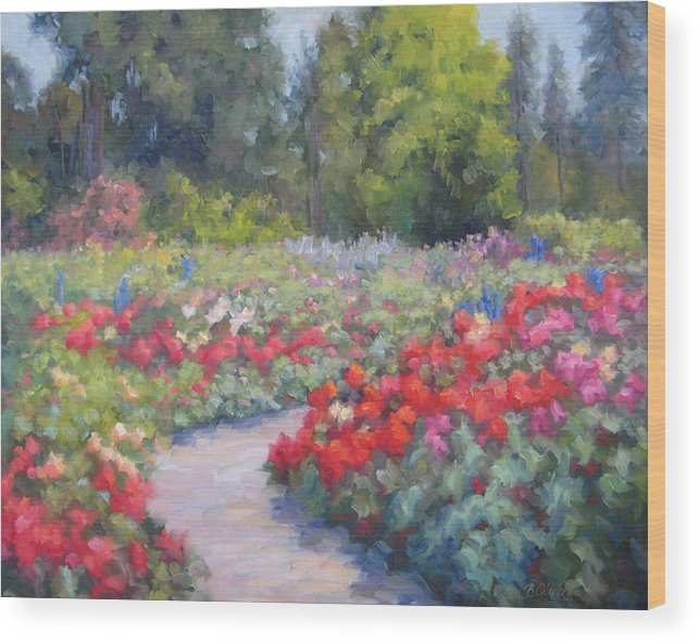 Rose Wood Print featuring the painting Rose Extravaganza by Bunny Oliver