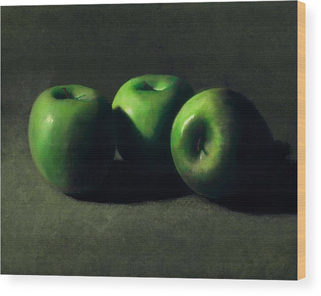 Still Life Wood Print featuring the painting Three Green Apples by Frank Wilson
