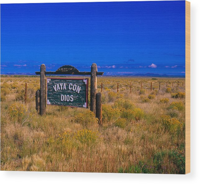Canon Eos A2 Wood Print featuring the photograph Vaya Con Dios Sign San Luis Valley Co by Troy Montemayor