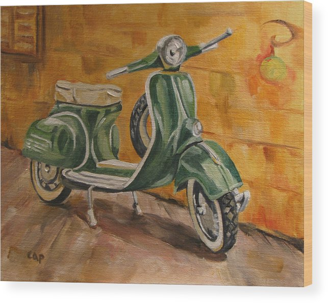Vespa Wood Print featuring the painting Vespa 3 by Cheryl Pass