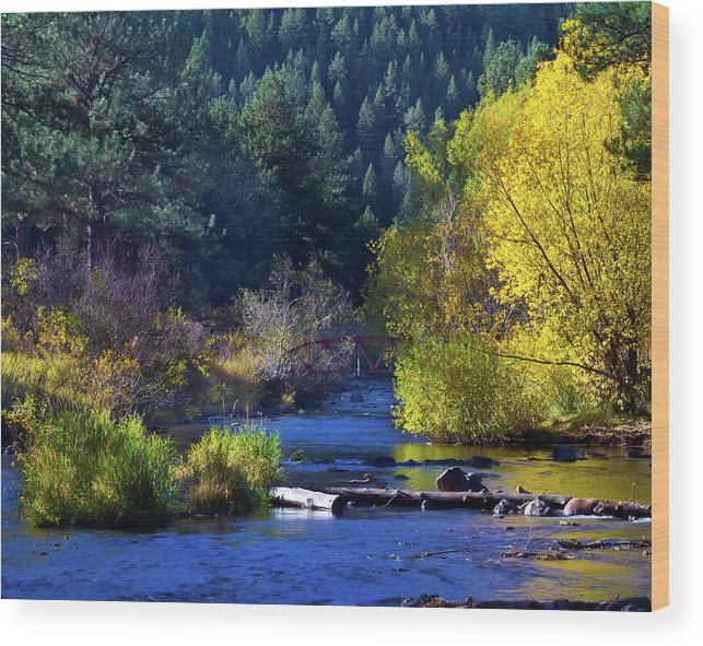 Autumn Wood Print featuring the photograph Vibrant Bear Creek by Crystal Garner