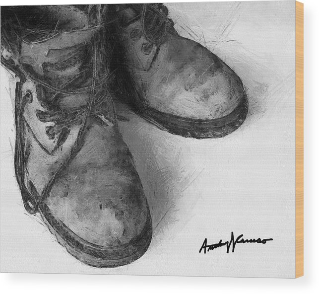 Boots Wood Print featuring the painting Work Boots by Anthony Caruso