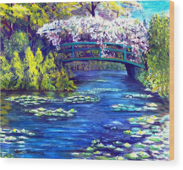Landscape Wood Print featuring the print Waterlilly Bridge by George Markiewicz