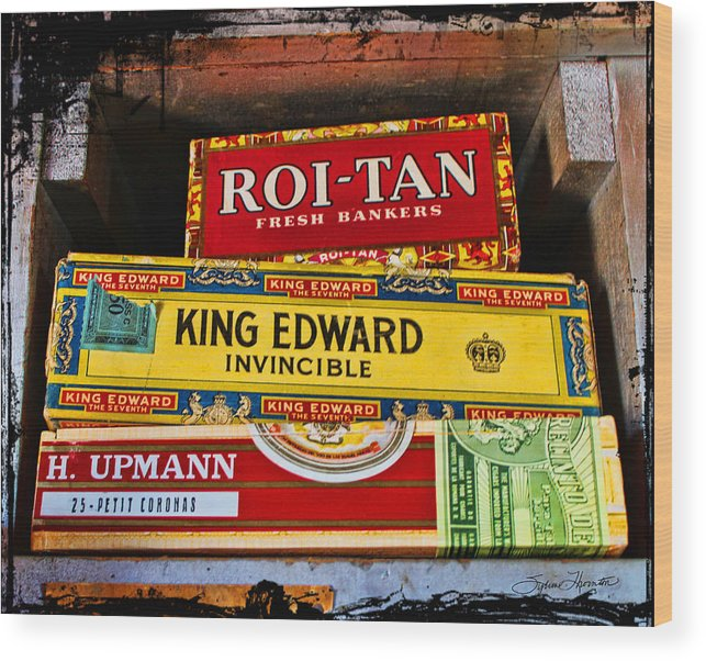 Old Cigar Boxes Wood Print featuring the photograph One At A Time by Sylvia Thornton