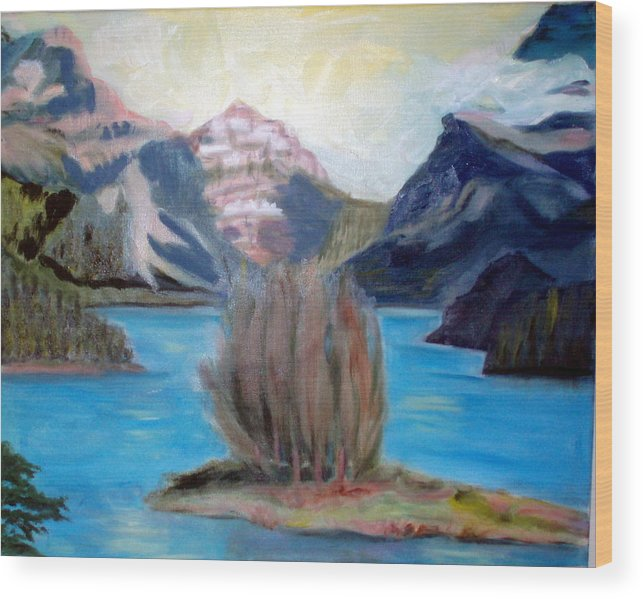 Alps Wood Print featuring the painting Alpine Lake by Lia Marsman