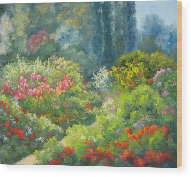 Landscape Wood Print featuring the painting Enchanted Garden by Bunny Oliver