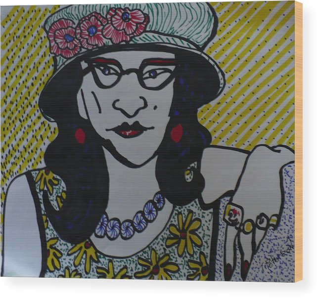 Woman Wood Print featuring the drawing Fashion Statement by Todd Peterson