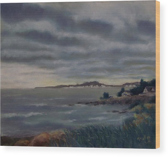 Wood Print featuring the pastel Heavy Clouds Over Rye by Marcus Moller