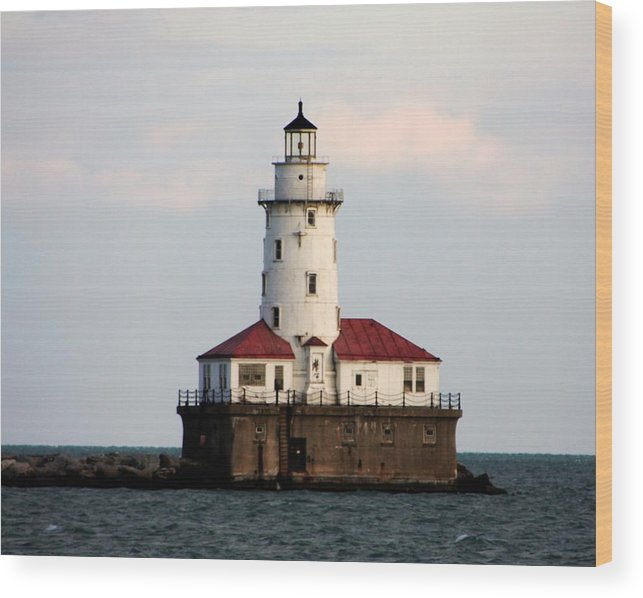 Lighthouse Wood Print featuring the photograph Navy Pier Lighthouse 2 by Kenna Westerman