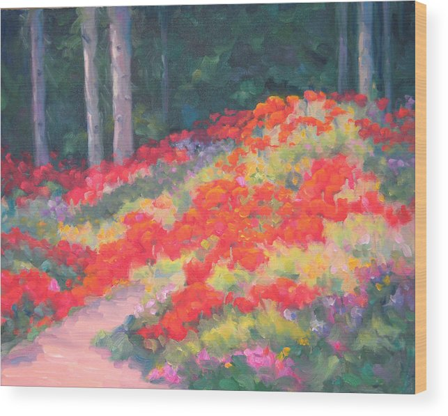 Poppies Wood Print featuring the painting Parade Of The Poppies by Bunny Oliver