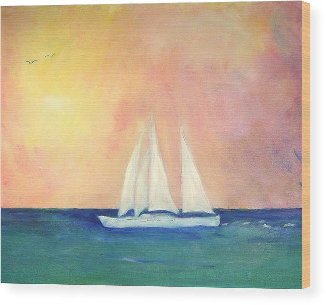 Coastal Wood Print featuring the painting Sailboat - Regatta Of One by Michela Akers