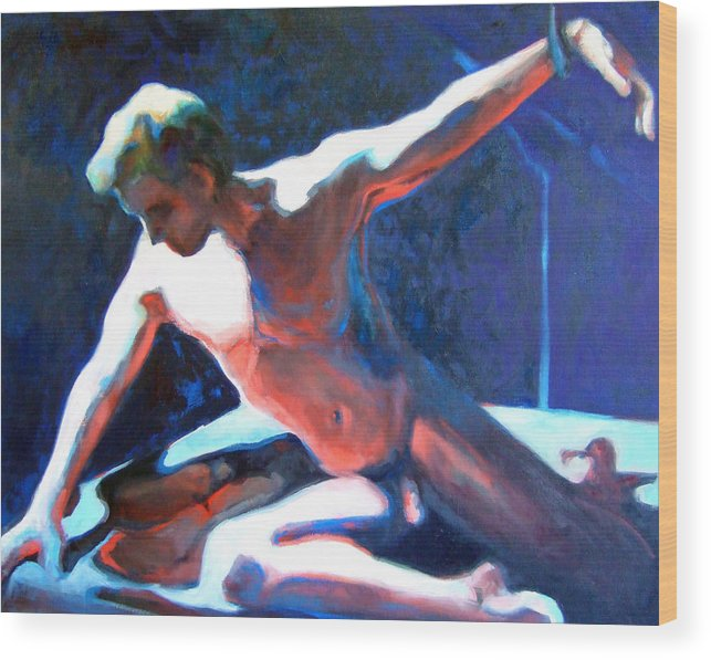 Nude Male Figure Figurative Naked Man Wood Print featuring the painting Stephen by Michelle Philip