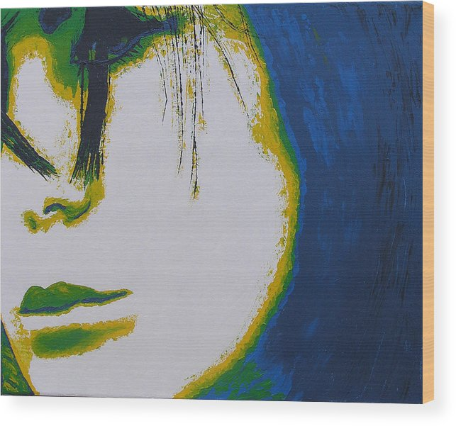 Portrait Wood Print featuring the painting Tragedy by Ricklene Wren