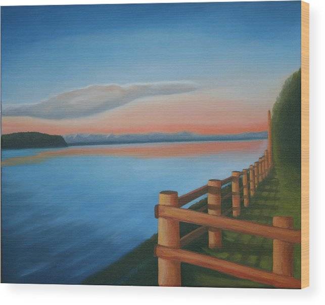 Seascape Wood Print featuring the painting Whidbey Island Sunset by Stephen Degan