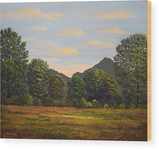 Spring Meadow At Sutter Buttes Wood Print featuring the painting Spring Meadow At Sutter Buttes by Frank Wilson