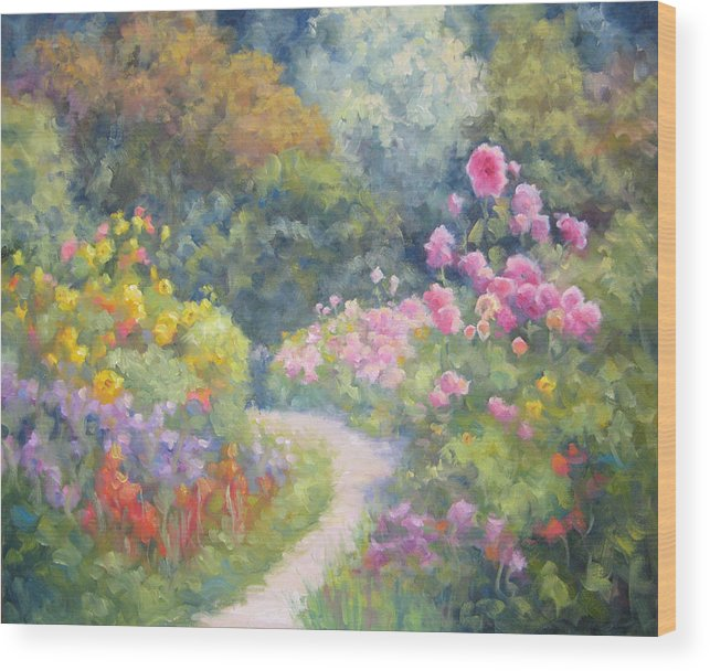 Garden Wood Print featuring the painting In Monets Footsteps by Bunny Oliver