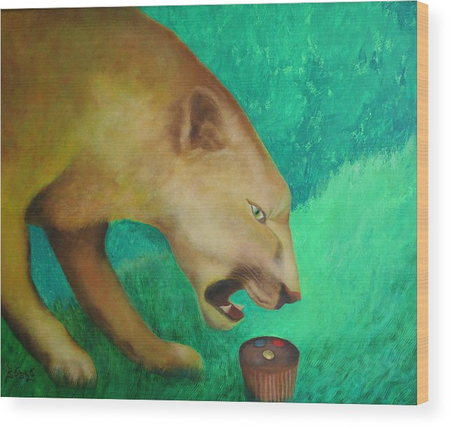 Animal Wood Print featuring the painting Fearless Cupcake by Rf Hauver