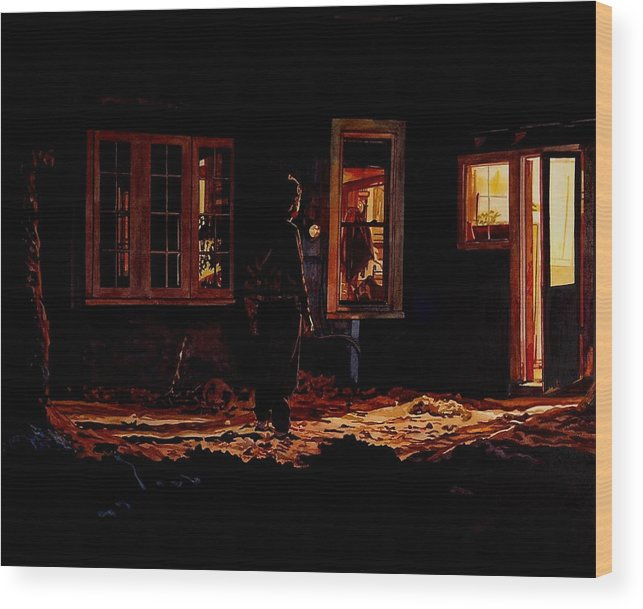 Night Wood Print featuring the painting Into The Night by Valerie Patterson