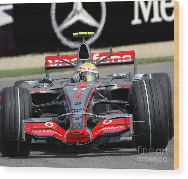 Formula 1 Wood Print featuring the photograph Lewis Hamilton, Mclaren- Mercedes Mp4-22 by James Hervat