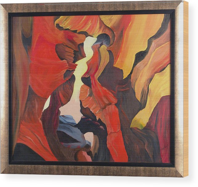 Cave Wood Print featuring the painting The Passage by Helene Lagoudakis
