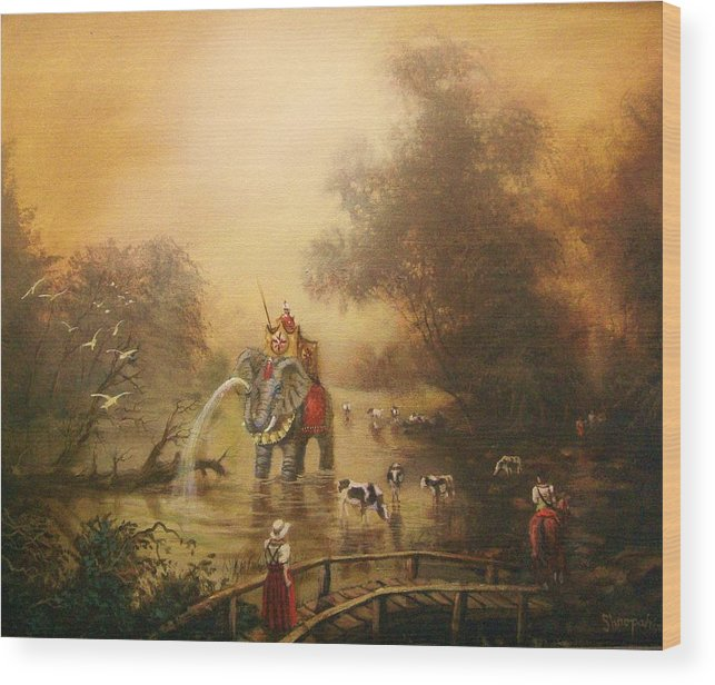 Fantasy Wood Print featuring the painting Bathing The Royal Elephant by Tom Shropshire