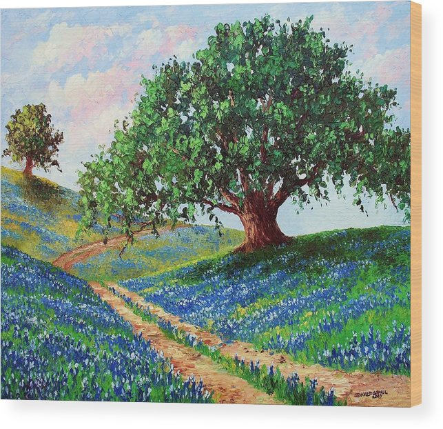 Bluebonnet Wood Print featuring the painting Bluebonnet Road by David G Paul