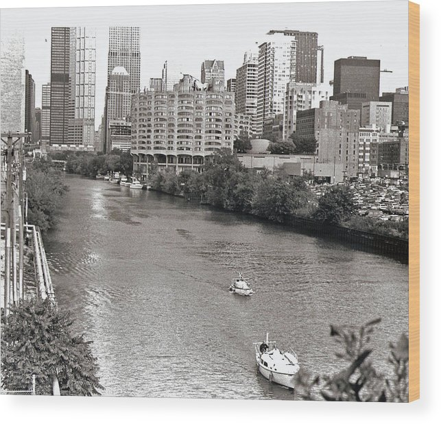 Landscape Wood Print featuring the photograph Chicago River by Eric Belford