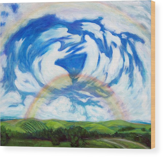 Heaven Wood Print featuring the painting Coming Home by Jill Iversen