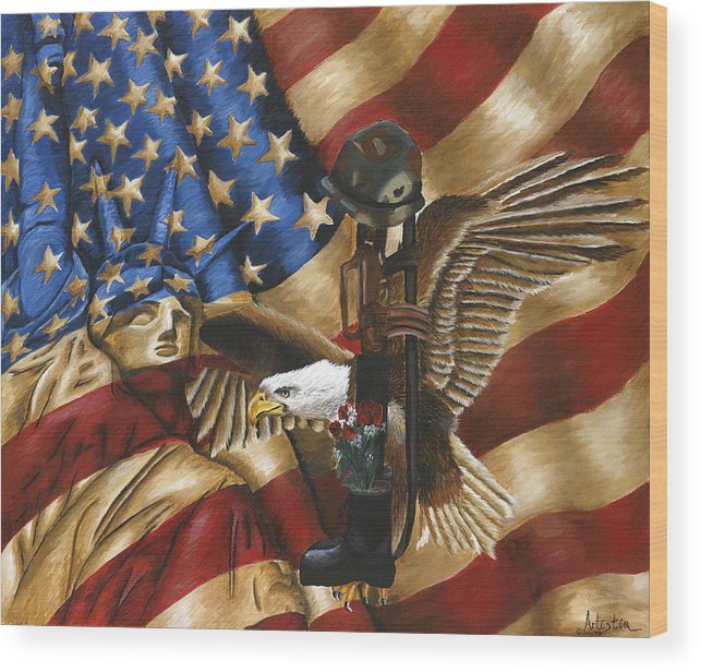 Tribute Wood Print featuring the painting Freedom by Renee Lindsey