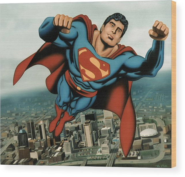 Superman Wood Print featuring the painting Superman by Van Cordle