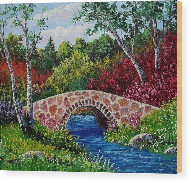 Landscape Wood Print featuring the painting The Little Stone Bridge by David G Paul