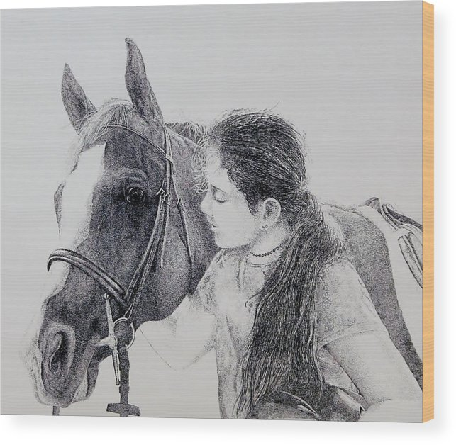 Pets Horses Horseback Riding Children Wood Print featuring the painting Best Friends by Tony Ruggiero