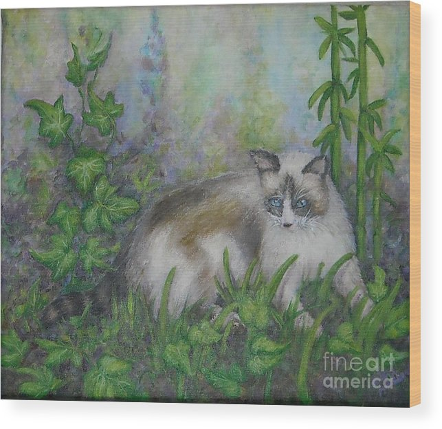 Bella Wood Print featuring the painting Bella With Ivy And Bamboo by Sheri Hubbard