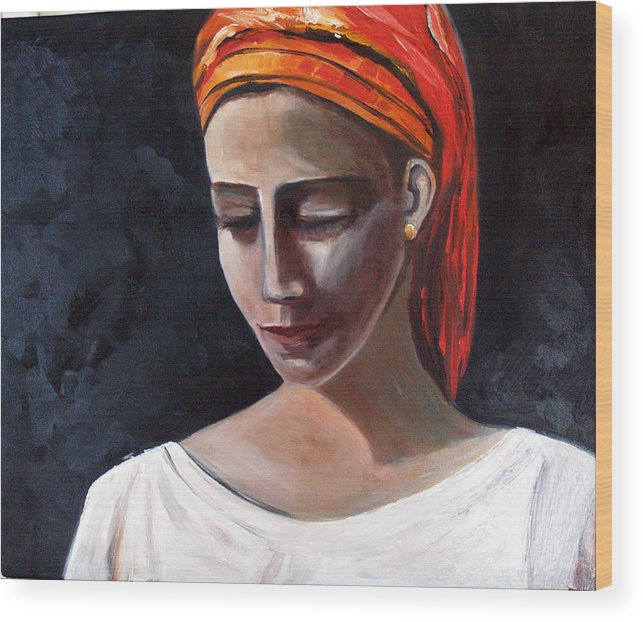 Girl Woman Portrait Red White Black Wood Print featuring the painting My Soul My Temple by Niki Sands