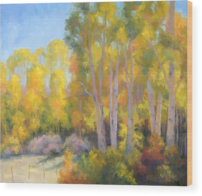 Autumn Wood Print featuring the painting October Delight by Bunny Oliver