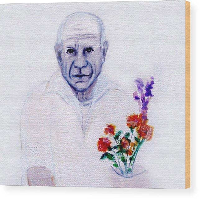 Pablo Picasso Wood Print featuring the painting Primroses For Picasso by Michela Akers