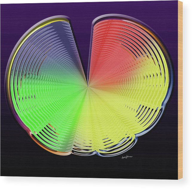 Abstract Wood Print featuring the digital art Technicolor Shell by Anthony Caruso