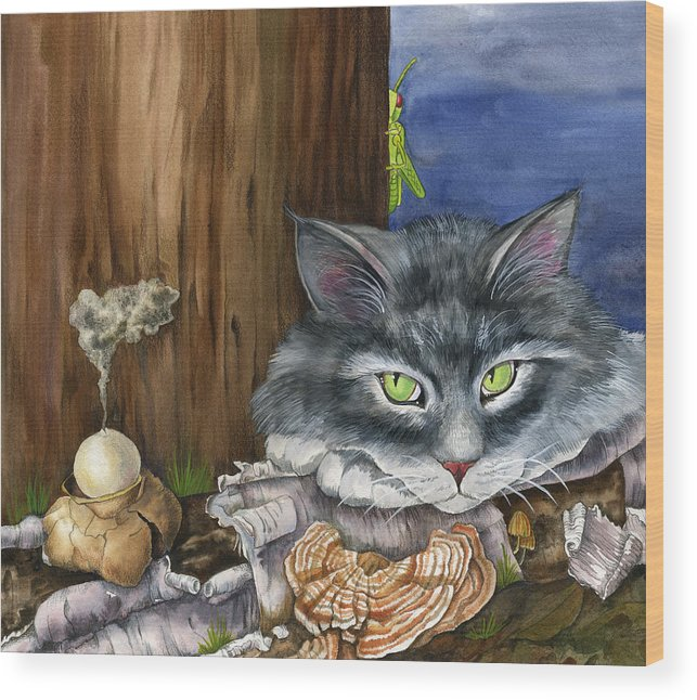 Cats Wood Print featuring the painting Mona With The Mushrooms by Mindy Lighthipe