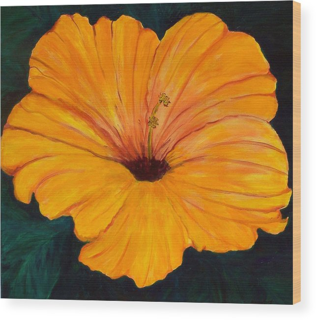 Flowers Wood Print featuring the painting Solid Gold by Marcia Paige