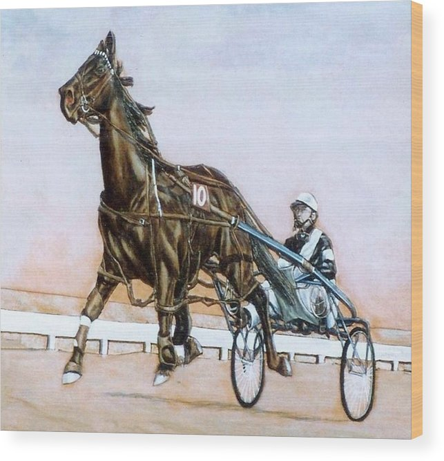 Horses Wood Print featuring the painting The Pacer by Lilly King