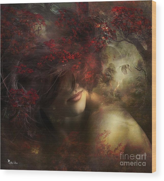 Fantasy Wood Print featuring the digital art Mia by Ali Oppy