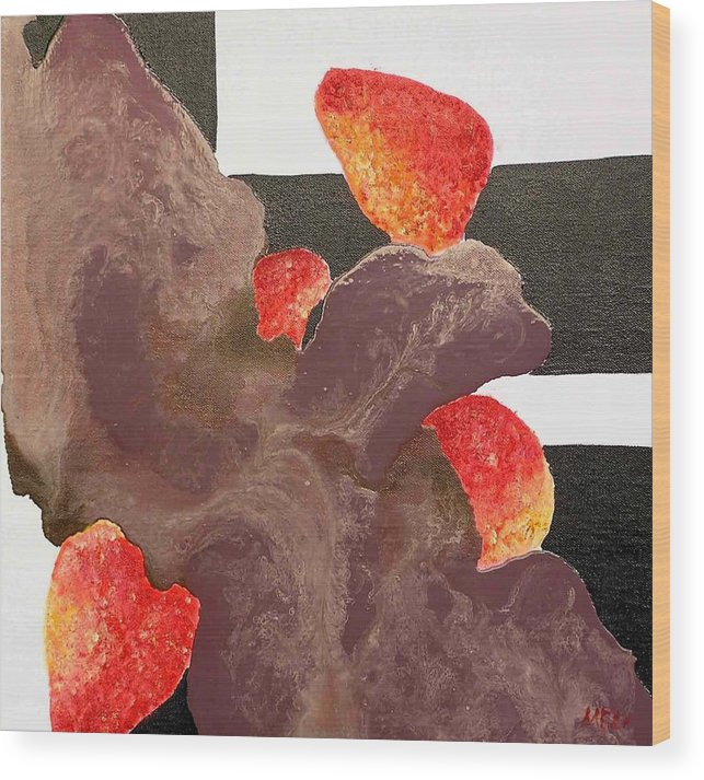 Wood Print featuring the painting Strawberry In Chocolate by Evguenia Men