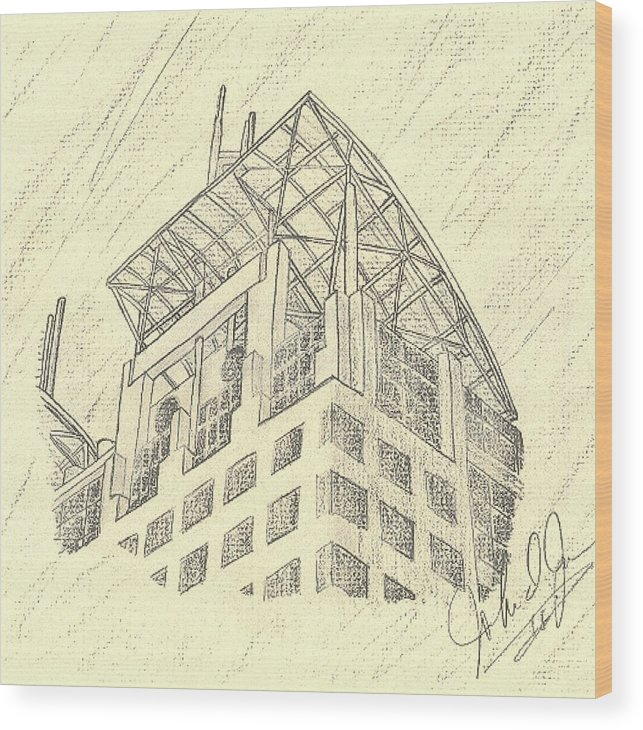 Buildings Wood Print featuring the drawing Mobile Courthouse by John Jones