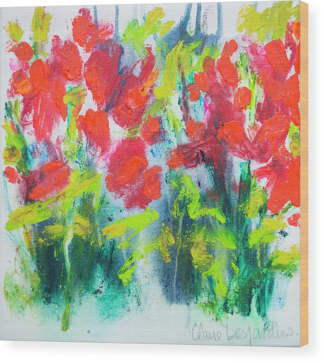 Abstract Wood Print featuring the painting Little Garden 01 by Claire Desjardins