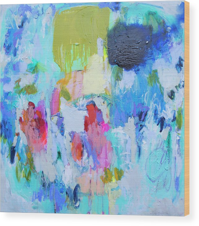 Abstract Wood Print featuring the painting Soul Feeling by Claire Desjardins