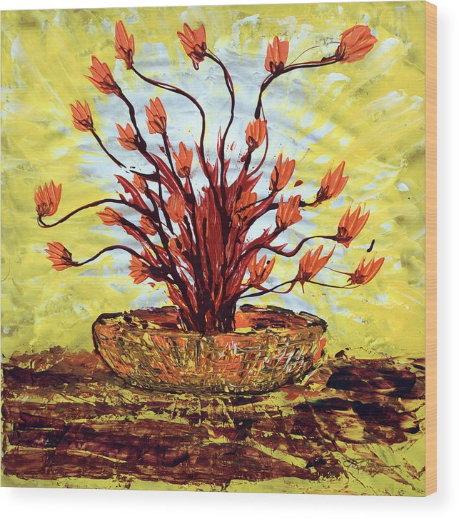Red Bush Wood Print featuring the painting The Burning Bush by J R Seymour