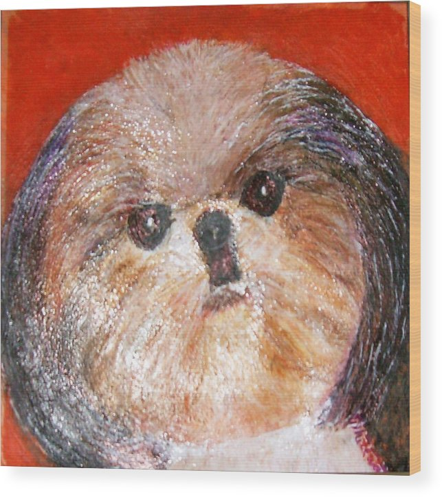 Acrylic Wood Print featuring the painting Toby The Cutest Doggie by Anne-Elizabeth Whiteway