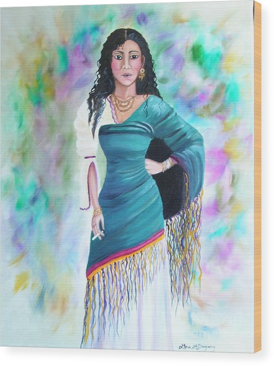 Gypsy Woman Wood Print featuring the painting Beautiful Zoli by Lora Duguay