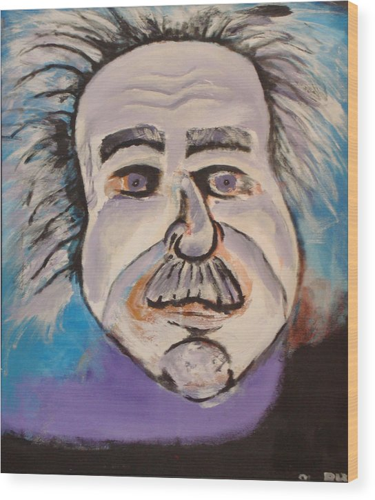 Rick Huotari Wood Print featuring the painting Einstein by Rick Huotari